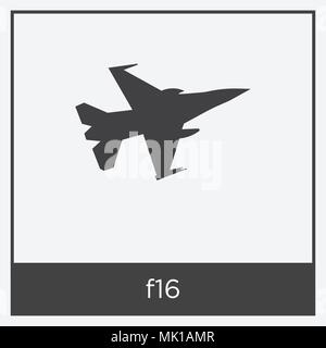 f16 icon isolated on white background with gray frame, sign and symbol - Stock Photo