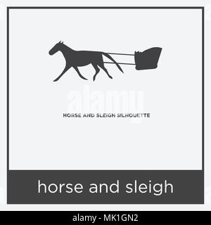 horse and sleigh icon isolated on white background with gray frame, sign and symbol - Stock Photo
