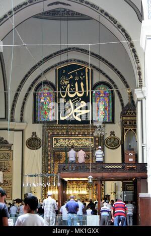Bursa, Turkey - ON August/03/2010 - Bursa Grand Mosque or Ulu Cami - Stock Photo