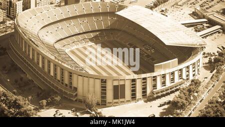 Camp Nou, famous footbal stadium in Barcelona of Catalonia, Spain - Stock Photo