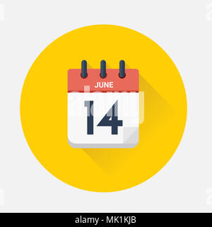 Vector illustration. Day calendar with date June 14, 2018. World cup concept - Stock Photo