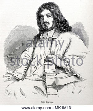 John Bunyan portrait 628 – 1688 was an English writer and Puritan preacher best remembered as the author of the Christian allegory The Pilgrim's Progress, antique illustration from circa 1880 - Stock Photo