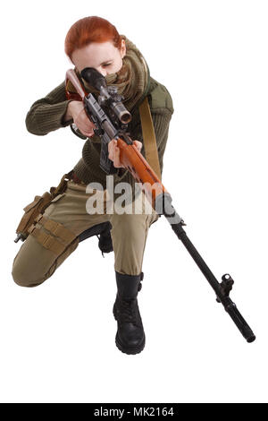 woman sniper with SVD sniper rifle isolated on white background - Stock Photo