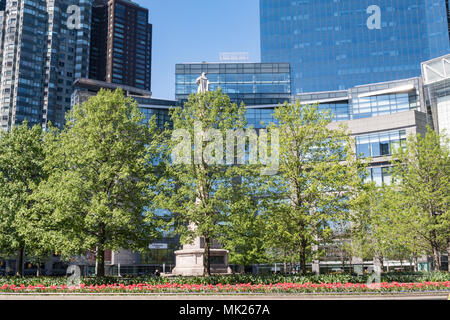 Columbus Circle in the Spring, NYC, USA - Stock Photo