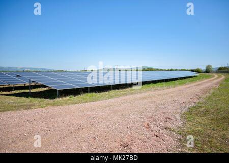 Solar panels at a solar farm, Gloucestershire, UK - Stock Photo