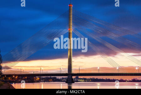 Vansu Bridge In Riga, Latvia. Shroud Bridge. - Stock Photo