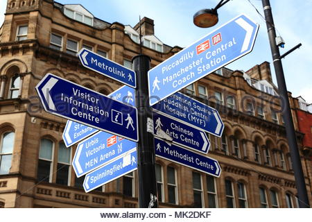 Multiple Information Signs Fixed To A Pole Displaying Which Direction To Take To Various Points Of Interest In Manchester Centre Manchester May 2018 - Stock Photo