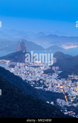 High angle view of the world heritage listed Carioca Landscape between the Mountain and the Sea in Rio de Janeiro showing the Sugar Loaf mountain