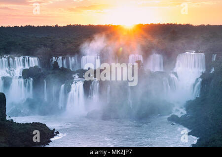 The Iguassu or Iguacu falls - the world's biggest waterfall system on the border of Brazil an Argentina - Stock Photo
