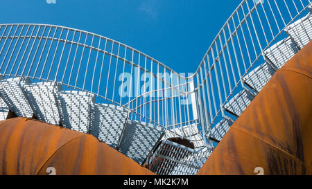 Stairs on a rusty steel structure - Stock Photo