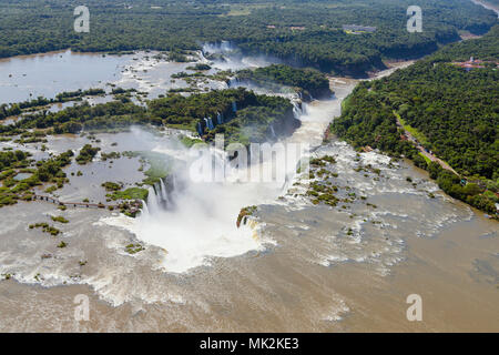 Aerial view of the Iguassu or Iguacu falls - the world's biggest waterfall system on the border of Brazil an Argentina - Stock Photo