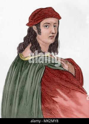 Raphael, Raffaello Sanzio da Urbino (Urbino, 1483-Rome, 1520). Italian artist of the Renaissance. Engraving. Later colouration. - Stock Photo