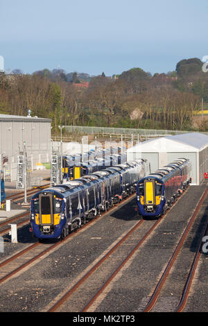 New class class 385 electric trains  for Scotrail awaiting delivery at the Hitachi train assembly factory at Newton Aycliffe, county Durham - Stock Photo