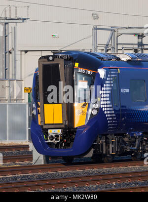 Brand new class class 385 electric train at the Hitachi assembly  plant at Newton Aycliffe, UK showing the curved windscreen - Stock Photo