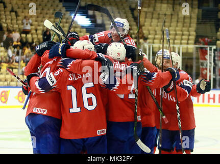Herning, Denmark. 6th May, 2018. joy of the Norwegian team for the victory.May 06, 2018, Ice Hockey World Championship2018, Germany vs Norway, Jyske Bank Boxen, Herning/Denmark, Credit: Wolfgang Fehrmann/ZUMA Wire/Alamy Live News - Stock Photo