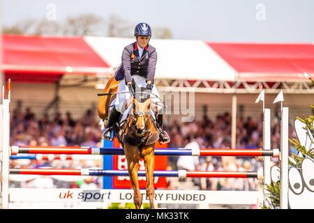 Gloucestershire, UK. 6th May 2018. Showjumping. Day 4. Sarah Bullimore. Reve du Rouet. GBR. Mitsubishi Badminton Horse Trials. Badminton. UK.  06/05/2018. Credit: Sport In Pictures/Alamy Live News - Stock Photo
