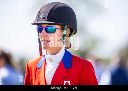 Gloucestershire, UK. 6th May 2018. Showjumping. Day 4. Selena O'Hanlan. CAN. Mitsubishi Badminton Horse Trials. Badminton. UK.  06/05/2018. Credit: Sport In Pictures/Alamy Live News - Stock Photo