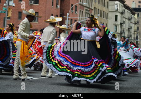 New York, USA. May 6, 2018; New York City: Participants at the 2018 Cinco de Mayo parade on upper west side of Manhhatn in New York City. Credit: Ryan Rahman/Alamy Live News - Stock Photo