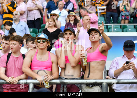 London, UK. 6th May, 2018. Oliver Wright's supporters shouts out during 2018 RFU Cup - Intermediate Cup Final: Camberley RFC vs Droitwich RFC at Twickenham Stadium on Sunday, 06 May 2018. LONDON, ENGLAND. Credit: Taka G Wu Credit: Taka Wu/Alamy Live News - Stock Photo
