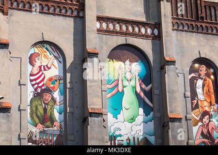 KATOWICE, POLAND - MAY 05, 2018: Murals in Katowice, Silesia. - Stock Photo