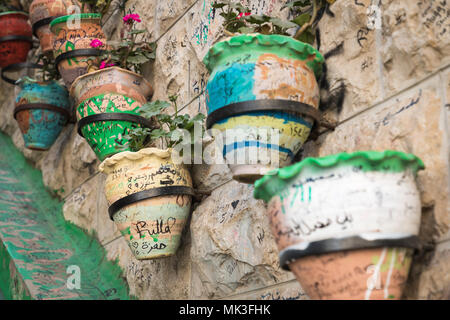 Famous stairs and flowers in Amman, Jordan. - Stock Photo