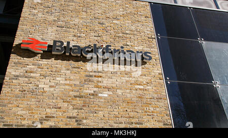 London, UK: February 25, 2018: Blackfriars National Railway Station is the only station to have platforms that span the Thames River. - Stock Photo