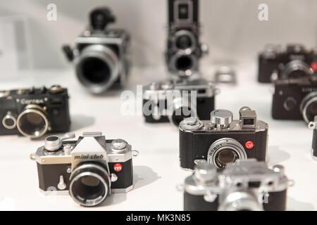 Antique cameras,Hessenpark Open Air Museum - Stock Photo