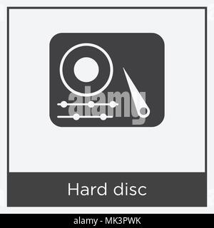 Hard disc icon isolated on white background with gray frame, sign and symbol - Stock Photo