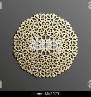 Islamic mandala 3d gold background on dark round ornament. Architecture muslim texture . Brochures invitation ,persian motif design. - Stock Photo