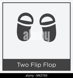 Two Flip Flop icon isolated on white background with gray frame, sign and symbol - Stock Photo