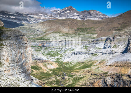 Sight of Monte Perdido and Ordesa's valley in the spanish national park Ordesa and Monte Perdido, Pyrenees - Stock Photo