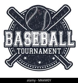 Baseball grunge rubber stamp on white background, vector illustration - Stock Photo
