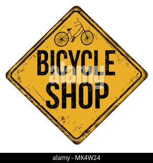 Bicycle shop vintage rusty metal sign on a white background, vector illustration - Stock Photo