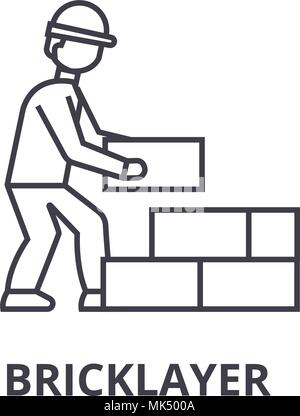 bricklayer vector line icon, sign, illustration on background, editable strokes - Stock Photo