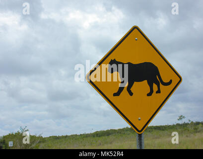 The unique 'panther crossing' sign in Everglades National Park, Florida, USA - Stock Photo