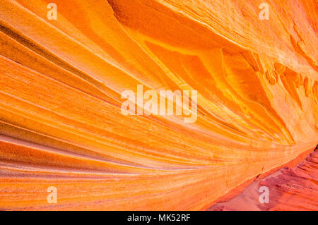 detailed view of Colorful sandstone patterns and fins Cottonwood access area South Coyote Buttes Vermilion Cliffs National Monument Arizona - Stock Photo
