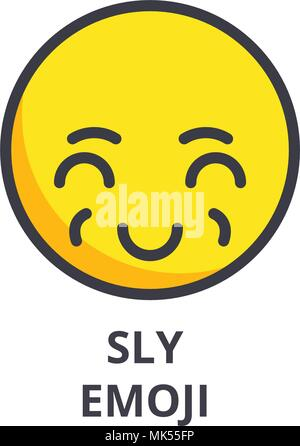 sly emoji vector line icon, sign, illustration on background, editable strokes - Stock Photo