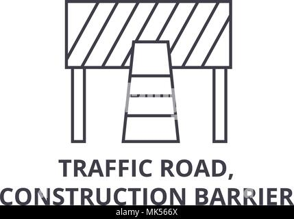 traffic road, construction barrier vector line icon, sign, illustration on background, editable strokes - Stock Photo