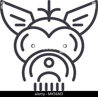 yorkshire terrier  vector line icon, sign, illustration on background, editable strokes - Stock Photo