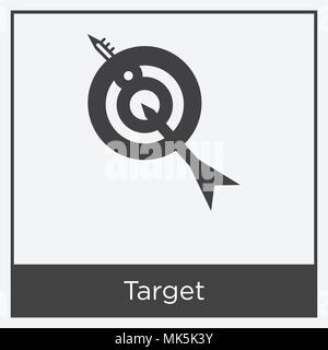 Target icon isolated on white background with gray frame, sign and symbol - Stock Photo