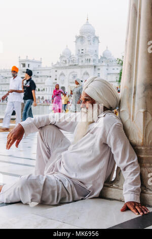 Amritsar, Punjab, India : An old sikh man rests at the Golden Temple. - Stock Photo