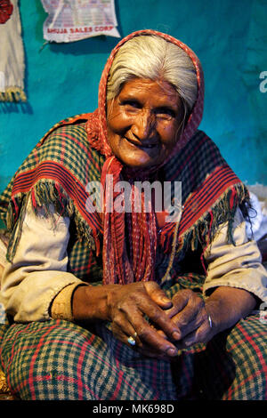 Portrait of old Indian woman at her house in Naggar, Himachal Pradesh, India - Stock Photo