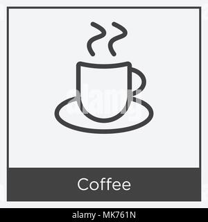 Coffee icon isolated on white background with gray frame, sign and symbol - Stock Photo