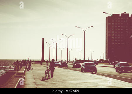 Boulevard in Montevideo, Uruguay. Montevideo is the capital and the largest city of Uruguay - Stock Photo