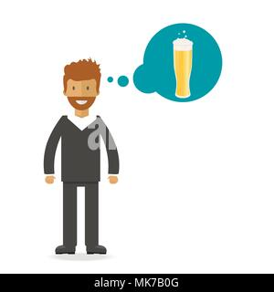 Set of beer bottle, mugs and glasses with young man. Vector icon with alcoholic beverages. Wheat beer, lager, craft beer, ale. - Stock Photo
