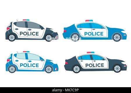 Police patrol on a road with police car.  vehicle with rooftop flashing lights. Flat vector illustration. - Stock Photo