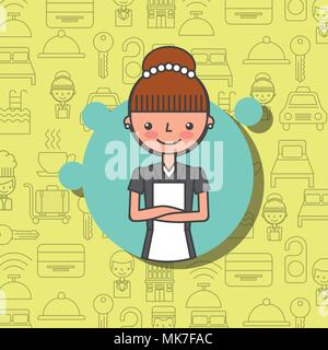 hotel female maid character professional work vector illustration - Stock Photo