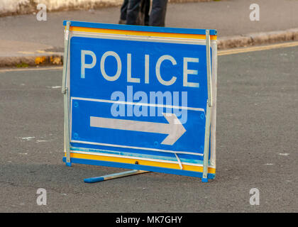 A police directional sign at a road accident in Eastbourne Sussex - Stock Photo