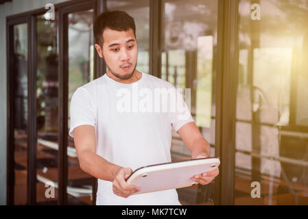 Shocked because of excessive or overweight, overweight and need exercise for healthy - Stock Photo