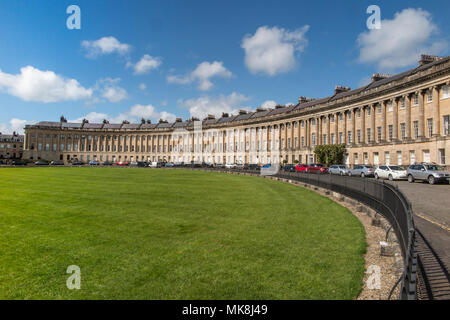 Royal Crescent in the City of Bath on a day in Springtime - Stock Photo